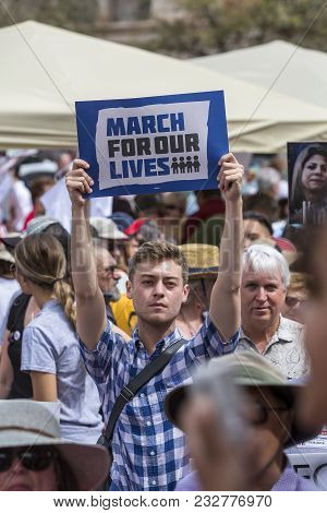 Tucson, Az - March: Unidentified Young Man With Sign At March For Our Lives Gun Violence Protest Org