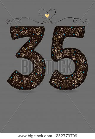 Brown Floral Number Thirty Five. Yellow Flowers And Plants With Drawing Effect And Small Blue Hearts