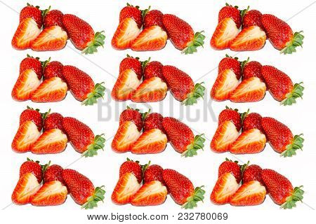 Fresh Strawberry On White Isolated Background. Red Strawberry. Sweet Strawberries. Slices Of Strawbe