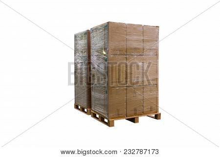 Cardboard Boxes On Wooden Palette, Packaging, Palette