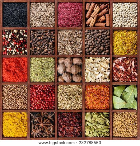 Spice Background. Assortment Of Spices And Seasoning In Square Wooden Box With Many Compartments Top