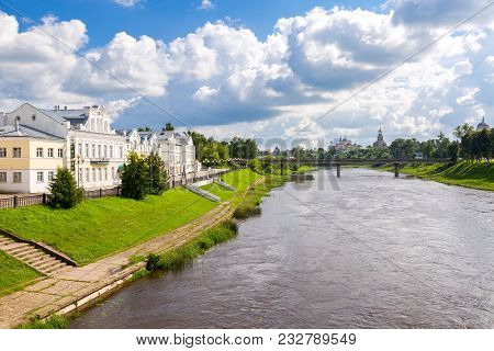 Torzhok, Russia - July 16, 2017: Provincial Russian Town Of Torzhok In Summer Sunny Day. Old Buildin