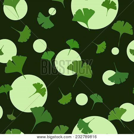 Ginkgo Seamless Pattern On Dark Background With Cute Circles. Vector Illustration