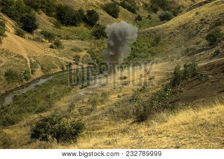 Explosion At A Military Training Ground. Destruction Of Training Objectives