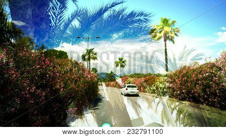 Double Exposure Of Palms And Car Driving On Road, Memories From Summer Trip, Stock Footage