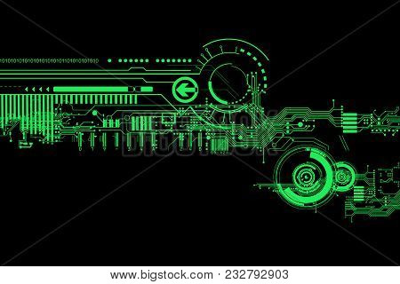 Abstract Futuristic Cyber Technology Background. Sci-fi Circuit Design. Hi Tech Technology. Cyber Pu