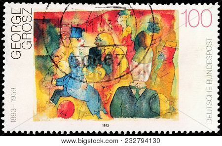Luga, Russia - February 8, 2018: A Stamp Printed By Germany Shows Painting Cafe By George Grosz - A
