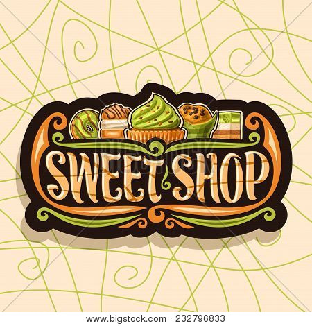 Vector Logo For Sweet Shop, Dark Vintage Signage For Confectionery, 5 Green Gourmet Choux Pastry Des