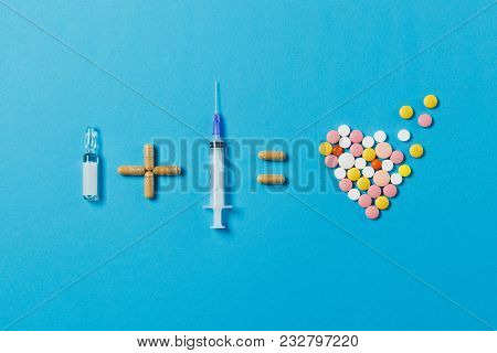 Pills Ampoule Plus Empty Syringe Needle Equals Medication Colorful Round Tablets In Form Of Heart Is