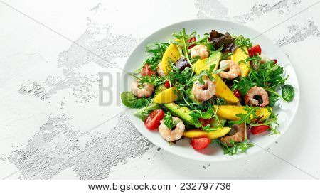 Fresh Avocado, Shrimps, Mango Salad With Lettuce Green Mix, Cherry Tomatoes, Herbs And Olive Oil, Le