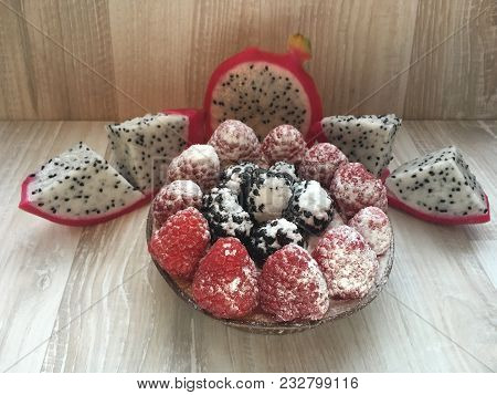 The Composition Of The Fruit Basket, Raspberry, Black, Berry, Powdered, Delicious Beautiful Cake, Pi
