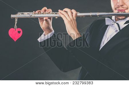 Valentines Day Love Melody Concept. Flute Music Playing Male Flutist Musician Performer. Young Elega
