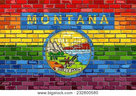 Brick Wall Montana And Gay Flags - Illustration, Rainbow Flag On Brick Textured Background,  Abstrac
