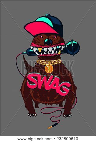 Rap Music, Swag Culture. Hip-hop Poster With Dog. Urban Street Style.