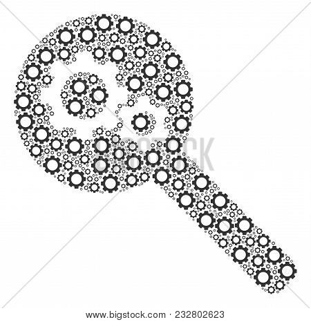 Search Gears Tool Mosaic Of Cogwheels. Vector Tooth Gear Items Are United Into Search Gears Tool Com