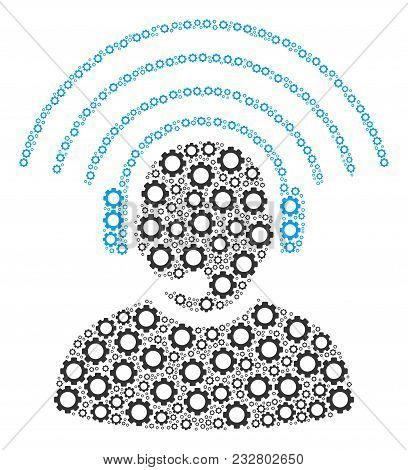 Operator Radio Signal Mosaic Of Gearwheels. Vector Gear Wheel Symbols Are Composed Into Operator Rad