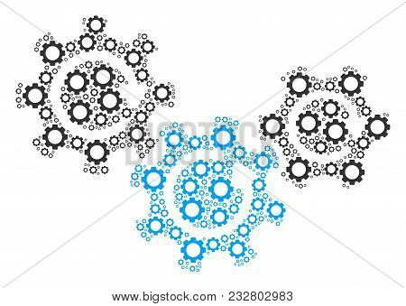 Transmission Gears Rotation Mosaic Of Vector Gears. Vector Cog Wheel Components Are Composed Into Tr