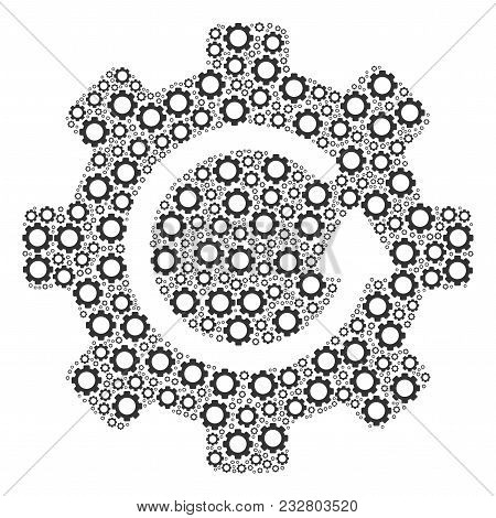Gear Rotation Composition Of Tooth Gears. Vector Cogwheel Parts Are United Into Gear Rotation Mosaic