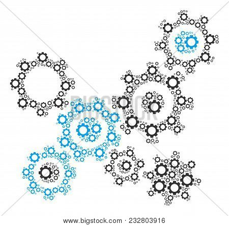 Gears Mechanism Mosaic Of Vector Gears. Vector Gearwheel Elements Are Composed Into Gears Mechanism