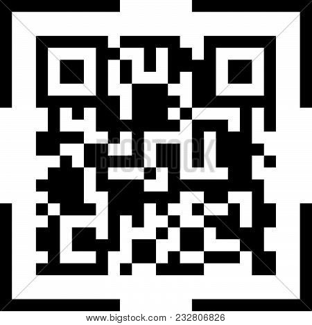 Qr Code Scan Icon Symbol. Vector Illustration.