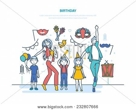 Birthday Concept. Adults And Children Cartoon Characters Celebrate The Event With A Birthday, Have F