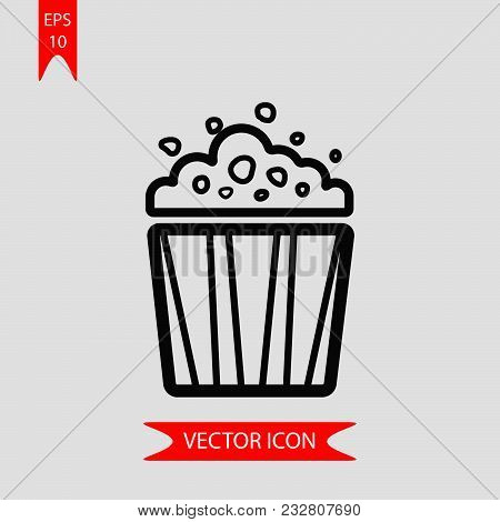 Popcorn Bag Icon Vector In Modern Flat Style For Web, Graphic And Mobile Design. Popcorn Bag Icon Ve