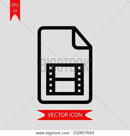Movie Document Icon Vector In Modern Flat Style For Web, Graphic And Mobile Design. Movie Document I