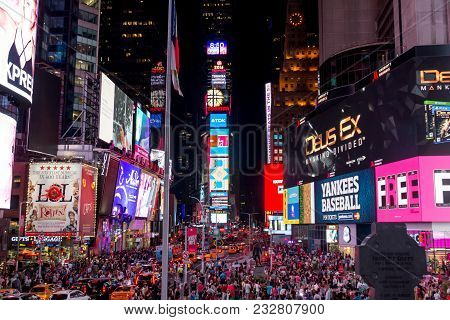 New York, Usa - Aug 17, 2016: Billboards In Times Square Showing Many Brands And Products With Lot O