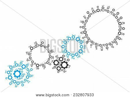 Gear Mechanism Collage Of Tooth Gears. Vector Gear Wheel Elements Are Composed Into Gear Mechanism S