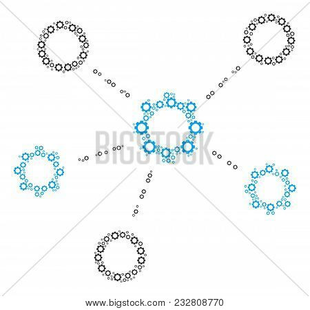 Gears Relations Composition Of Gear Components. Vector Cog Symbols Are Combined Into Gears Relations