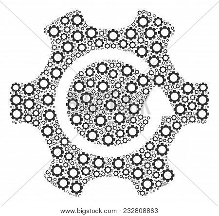 Rotate Gear Composition Of Cogs. Vector Gear Parts Are Organized Into Rotate Gear Shape.