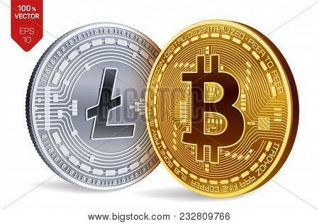 Bitcoin. Litecoin. 3d Isometric Physical Coins. Digital Currency. Cryptocurrency. Silver Coin With L