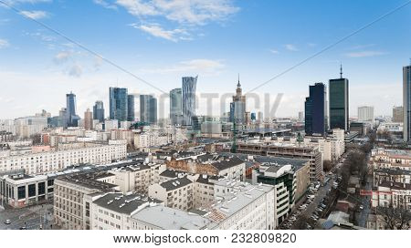 Warsaw, Poland - January 5, 2018. Aerial Drone View From Above Of City Center Skyline