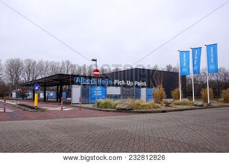 Naarden, Gooise Meren, The Netherlands - March 25, 2018: Albert Heijn (ah) Pick Up Point,  A Pick-up