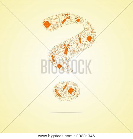 Orange question from gifts, vector illustration