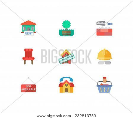 Property Icons Set. House For Rent And Property Icons With Construction Service, House Not Available