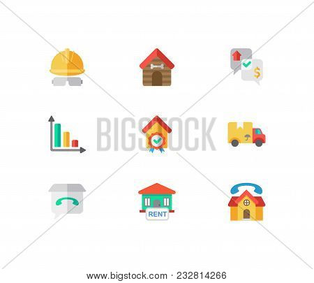 Building Icons Set. House For Rent And Building Icons With Negotiation, Animal House And Checking. S