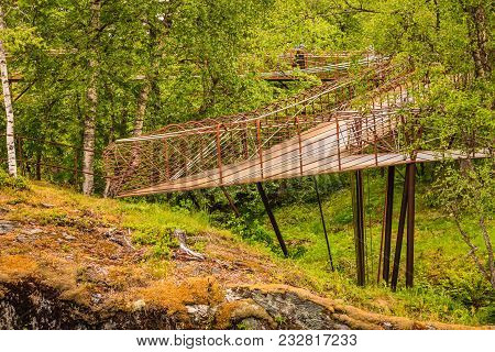 Tourist Attraction In Norway, Europe. The Viewing Point At Gudbrandsjuvet Located In The Valldalen V