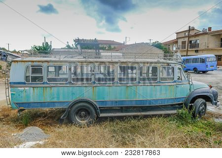 Pachna Village, Cyprus - October 6, 2017: Old Local Bus Left Abandoned In A Carpark In Pachna Villag