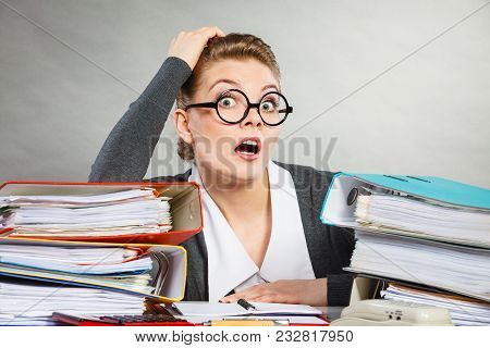 Emotions Shock Corporation Clerk Administration Concept. Panicked Secretary At Desk. Young Nervous L