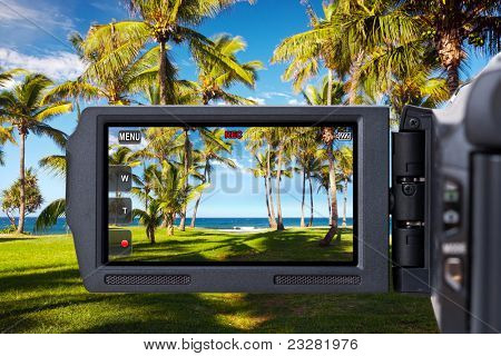 Cámara de vídeo o videocámara grabación playa y palmeras tropicales.