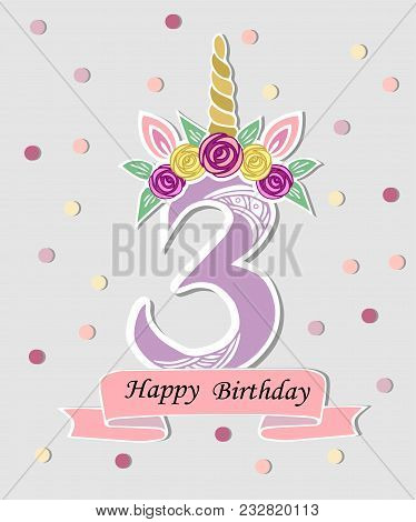 Vector illustration vector photo free trial bigstock vector illustration with number three unicorn horn ears and flower wreath template for maxwellsz