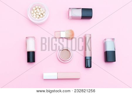 Decorative Cosmetics  Nude Color On A Pink Background. Isometric Flat Lay