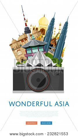 Wonderful Asia Poster With Lotus Temple, Taj Mahal, Petronas Twin Towers And Others Famous Architect