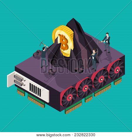 Gpu Mining Bitcoin Concept. Isometric Vector Illustration.