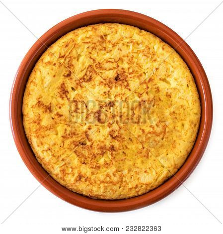 Spanish Tortilla Isolated On White Background, Top View. Traditional Spanish Omelette