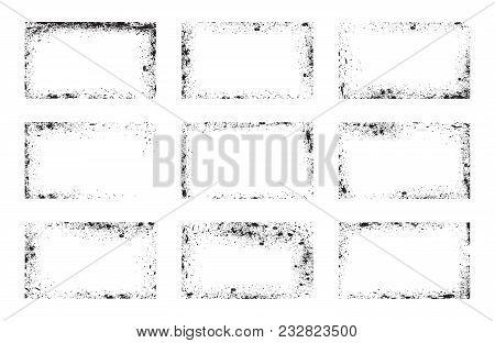 Set Of Grunge Frames, Background Overlays, Dirty Corners