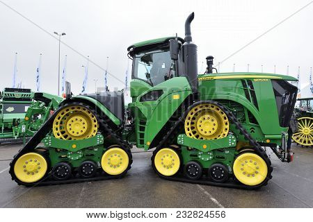 Kaunas, Lithuania - March 23: John Deere Tractor On March 23, 2018 In Kaunas, Lithuania. John Deere