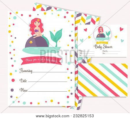 Bright invitation vector photo free trial bigstock bright invitation card with cute fairy mermaid birthday party card template vector illustration stopboris Gallery