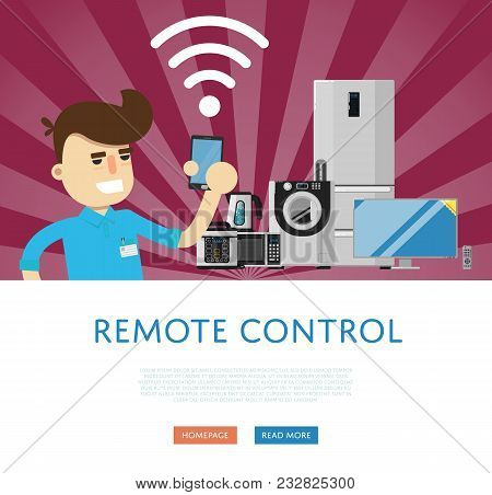 Remote Control For Household Appliances Concept. Smart Home Automation System, Smart House Control P